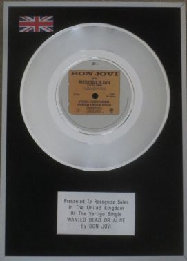 "BON JOVI - 7"" Platinum Disc - WANTED DEAD OR ALIVE"